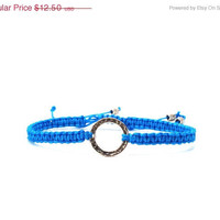 On Sale Blue Friendship Bracelet, Macrame, Sterling Silver
