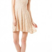 Cream Lace Dress with V-Back
