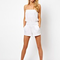 ASOS Cheesecloth Bandeau Beach Playsuit at asos.com