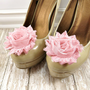 Flower Shoe Clips, Shabby Chic Shoe Clips in Vintage Pink, Wedding Accessories