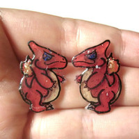 Charmeleon Pokemon Stud Earrings, Choice of Glitter Coating or No Glitter OOAK,Hypoallergenic Surgical Steel Posts, Made to Order
