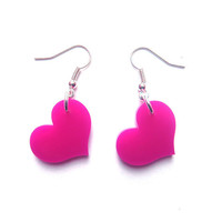 Heart Earrings -  laser cut fuschia acrylic hearts - rockabilly kitsch love drop earrings