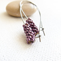 Eggplant. Chic  long earrings minimalist modern design Spring Fashion  beaded beads jewelry