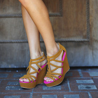 RESTOCK Australian Shore Wedges: Camel/Pink | Hope's