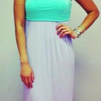 Mint Lavender Colorblock Strapless Ombre Maxi Dress