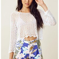 Blu Moon Crotchet Crop Top