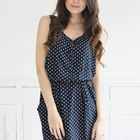 Laura Navy Polka Dot Sun Dress from Mod dolly