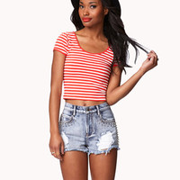 Striped Stretch-Fit Crop Top | FOREVER 21 - 2039000760