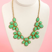 Gem Class Mint Green Statement Necklace