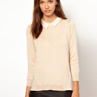 Warehouse Woven Back Collar Top