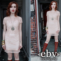 Vintage 70's Blush Pink CROCHET Hippie Boho Mini Dress XS S