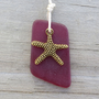 Garnet Red Sea Glass Necklace Gold Starfish Charm