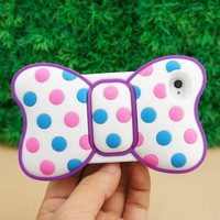 cute Minnie Bow 3D Silicone Soft Cover Back Case for iPhone 4 4G 4S Purple ST71