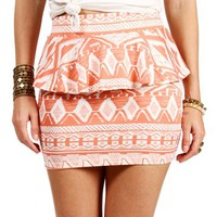 CoralWhite Peplum Tribal Skirt