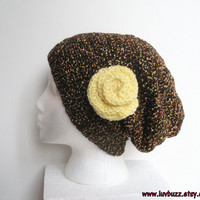 Brown Tweed Slouchy Crochet Hat with Yellow Rose, ready to ship.