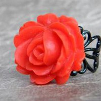 Christmas Red Rose Ring  on Etsy