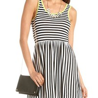 Striped Crisscross Back Skater Dress: Charlotte Russe