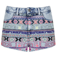 MOTO Acid Aztec Hotpant - Shorts - Clothing - Topshop USA