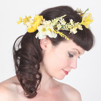 Flower Crown - Head Wreath - Yellow Wildflowers & Field Grass - Wedding Headpiece, Festival Circlet, Summer