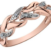 Diamond Ring in 10K Pink Gold:Amazon:Jewelry