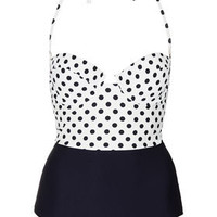 Cream Texture Polka Swimsuit - Swimwear  - Clothing