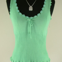 Tibi Top green knit beaded v neck sleeveless XS X SMALL cotton nylon