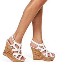 White Cutout Cork Wedges