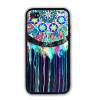 Glow Black Indian Dreamcatcher iPhone Case - Rubber Silicone iPhone 5 Case