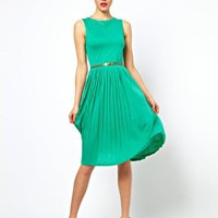 ASOS Sleeveless Midi Dress With Pleated Skirt And Belt at asos.com