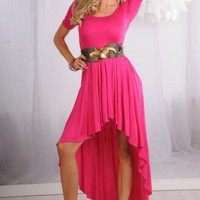 Pink Short Sleeve Hi-Low Dress with Ruffled Hem Skirt