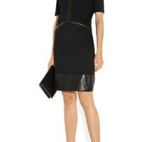 Helmut Lang | Motion leather-trimmed stretch-knit dress | NET-A-PORTER.COM