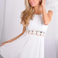 White Sleeveless Dress with Bead Detail & Sheer Lace Waist