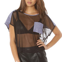 LA Boutique Tee Sheer Devotion High Low Top in Black