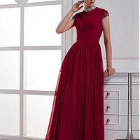 [97.99] Junoesque Chiffon A-line High Neck Raise Waist Cap Sleeve Red Evening Party Dress - Dressilyme.com