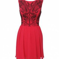 Chiffon Sleeveless Embroidered Skater Dress with Cutout Back