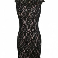 Black Lace Sleeveless Dress with Pearl Embellishment