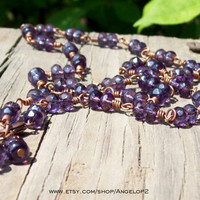 Like Grapes on a Vine - Faceted Glass Beaded Necklace  - Wire Wrapped