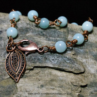 Amazonite Beaded Wire Wrapped in Copper Bracelet -        Bohemian Courage and Hope