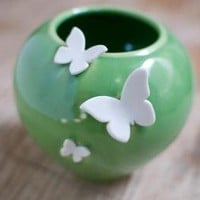 Round Butterfly Vase by redhotpottery on Etsy