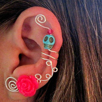 1 Non Pierced Ear Cuff - Cartilage Cuff Halloween, Dia de los Muertos, Samhain Skull Rose Color Choices