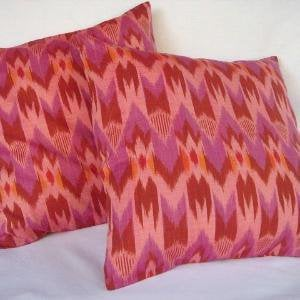 Ikat Chevron Pillow 16x16 Set of 2 Pink Lilac by ginette1223