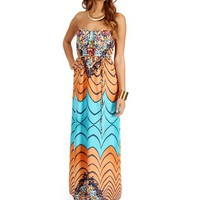 Pre-Order Aqua Abstract Floral Maxi Dresses