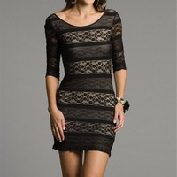 Sale-Gold Dresses With Black Lace Overlay