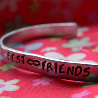best friends forever aluminum handstamped bracelet