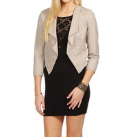SALE-Beige Faux Leather Jacket