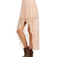 SALE-Blush Lace Hi Lo Skirt