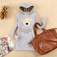 Casual Trendy Girls Hooded Hoodies Sweats Outerwear Tops Pullover Cute Bear Hot