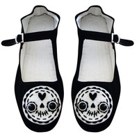 Day of the Dead Shoes  Sugar Skull Mary Janes  Size by emandsprout
