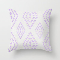 purple & gray tribal pattern Throw Pillow by daniellebourland