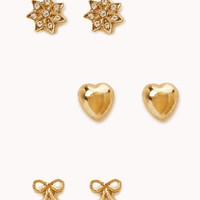 Bow, Heart & Flower Stud Set
